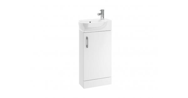 Casi 400mm 1 Door Floor Unit White with 450mm Zen Basin
