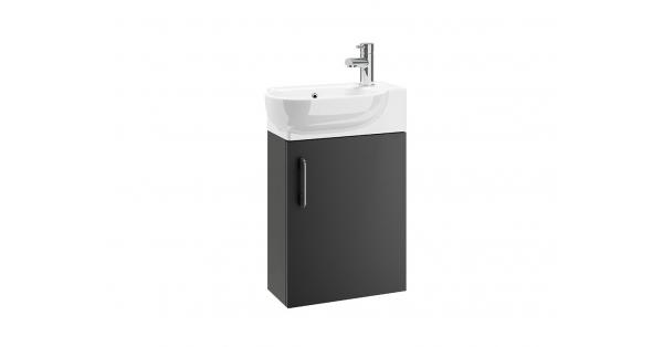 Casi 400mm 1 Door Wall Unit Grey with 450mm Zen Basin