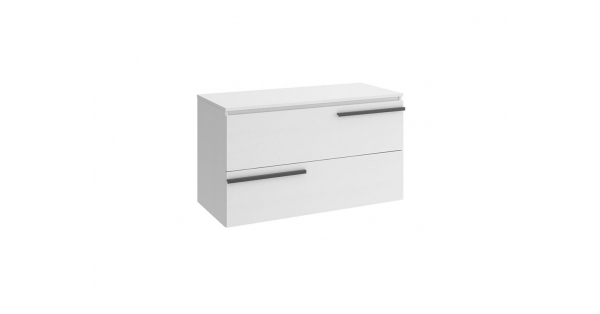 Crieve 1000mm 2 Drawer Wall Unit White with Worktop