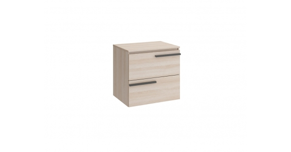 Crieve 600mm 2 Drawer Wall Unit Mid Oak with Worktop