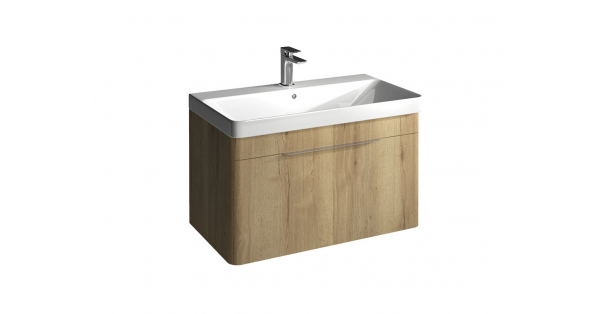 Brooklyn 800mm 1 Drawer Wall Unit Oak with Zen Basin