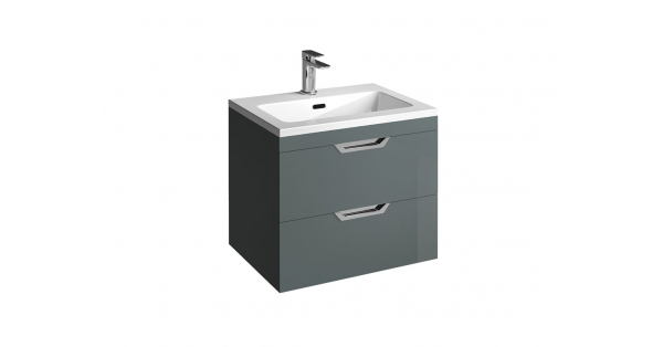Madison 600mm 2 Drawer Wall Unit Anthracite with Lounge Basin