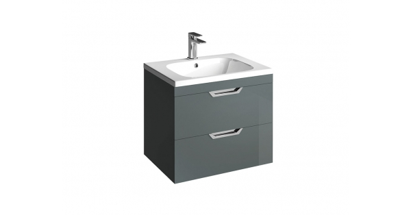 Madison 600mm 2 Drawer Wall Unit Anthracite with Orca Basin