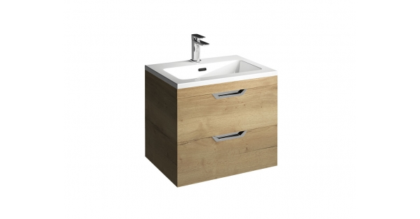 Madison 600mm 2 Drawer Wall Unit Oak with Lounge Basin