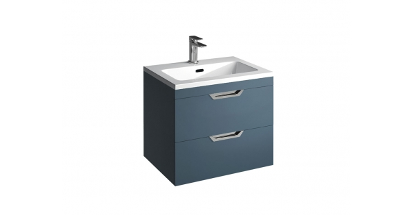 Madison 600mm 2 Drawer Wall Unit Sapphire with Lounge Basin