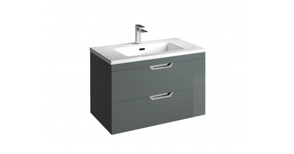 Madison 800mm 2 Drawer Wall Unit Anthracite with Lounge Basin