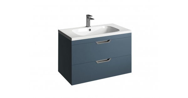 Madison 800mm 2 Drawer Wall Unit Sapphire with Orca Basin