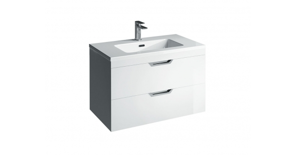 Madison 800mm 2 Drawer Wall Unit White with Lounge Basin