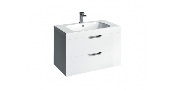 Madison 800mm 2 Drawer Wall Unit White with Orca Basin