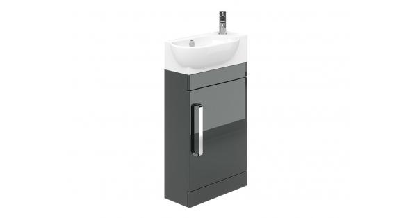 Ravello 400mm 1 Door Floor Unit Grey with 450mm Zen Basin